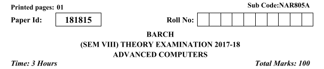 ADVANCED-COMPUTERS  Previous Year Question Paper for AKTU