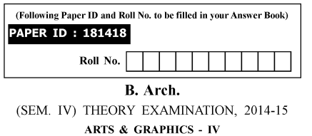 ARTS-AND-GRAPHICS Previous Year Question Paper for AKTU B.Arch